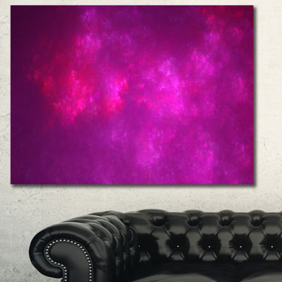 Designart Bright Pink Starry Fractal Sky AbstractCanvas Art Print - 3 Panels