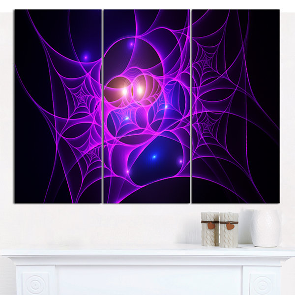 Designart Bright Purple Fractal Cobweb Abstract Canvas Art Print - 3 Panels
