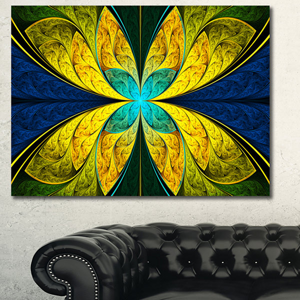 Designart Bright Yellow Blue Fractal Flower FloralCanvas Art Print - 3 Panels