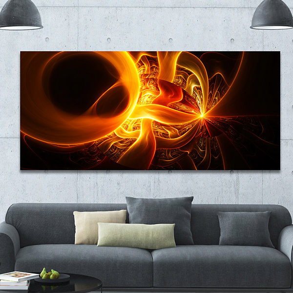 Designart Bright Yellow Designs On Black AbstractCanvas Art Print