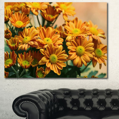 Designart Bright Yellow Flowers In Garden FloralCanvas Art Print - 3 Panels