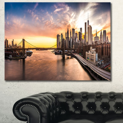 Designart Brooklyn Bridge Panorama At Sunset Landscape Canvas Art Print