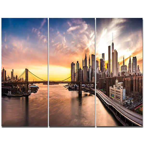 Design Art Brooklyn Bridge Panorama At Sunset Landscape Canvas Art Print - 3 Panels