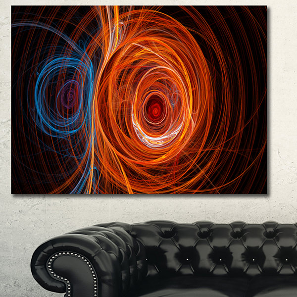 Design Art Brown Abstract Fractal Circles AbstractCanvas Art Print - 3 Panels
