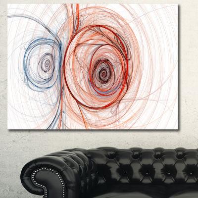 Designart Brown Blue Fractal Illustration AbstractCanvas Art Print