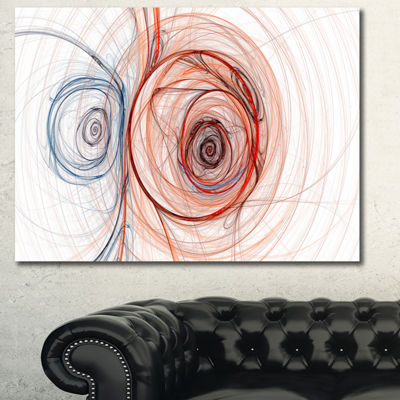 Designart Brown Blue Fractal Illustration AbstractCanvas Art Print - 3 Panels