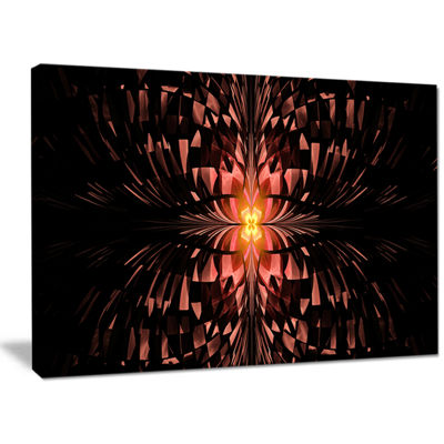 Designart Brown Butterfly Pattern On Black Abstract Art On Canvas