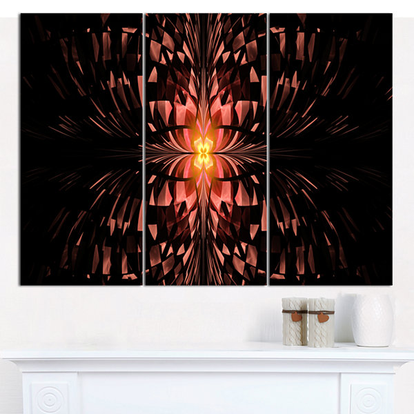 Designart Brown Butterfly Pattern On Black Abstract Art On Canvas - 3 Panels