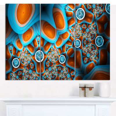Designart Brown Extraterrestrial Life Forms FloralCanvas Art Print - 3 Panels