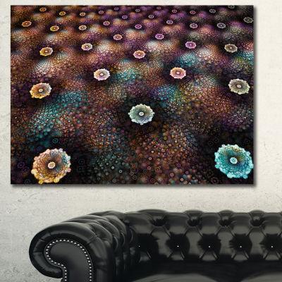 Designart Brown Flowers On Alien Planet Floral Canvas Art Print - 3 Panels