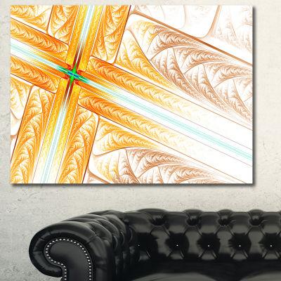 Designart Brown Fractal Cross Design Abstract ArtOn Canvas