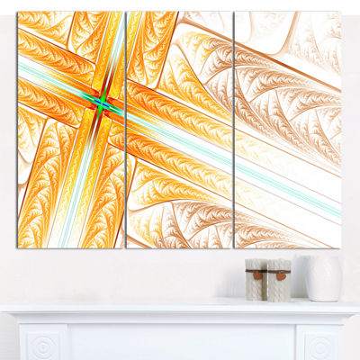Designart Brown Fractal Cross Design Abstract ArtOn Canvas - 3 Panels
