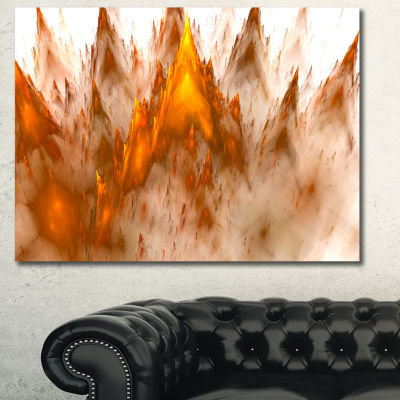 Designart Brown Fractal Crystals Design AbstractCanvas Art Print - 3 Panels