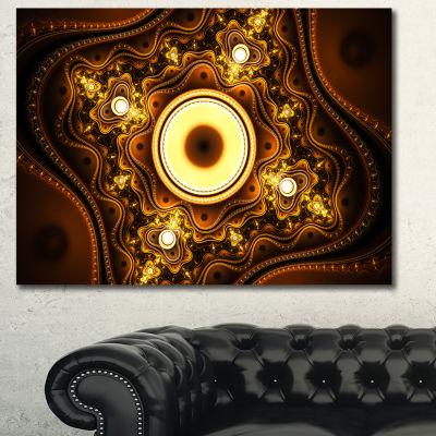 Designart Brown Fractal Pattern With Circles Abstract Canvas Art Print - 3 Panels
