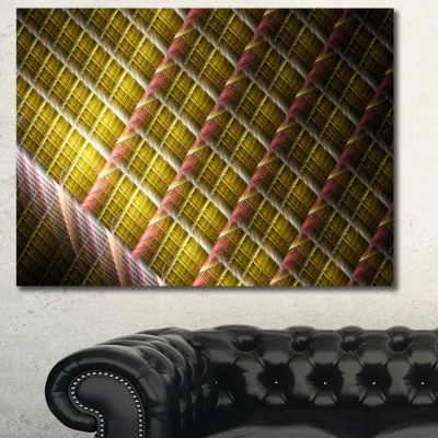 Designart Brown Metal Protective Grids Abstract Canvas Art Print
