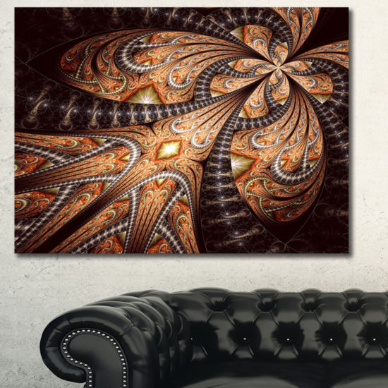 Designart Brown Symmetrical Fractal Flower Abstract Canvas Art Print
