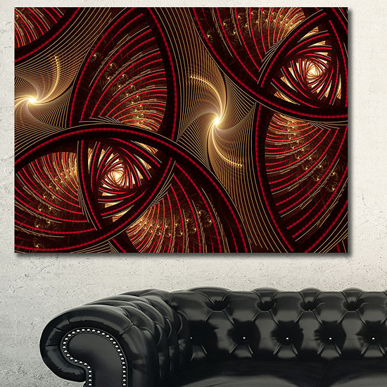 Designart Brown Symmetrical Fractal Pattern Floralcanvas Art Print