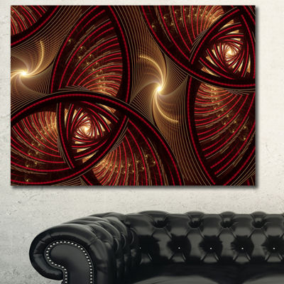 Designart Brown Symmetrical Fractal Pattern FloralCanvas Art Print - 3 Panels