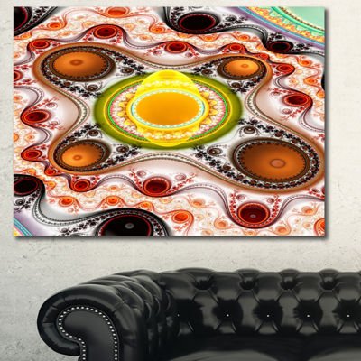 Designart Brown Wavy Curves And Circles AbstractCanvas Art Print - 3 Panels