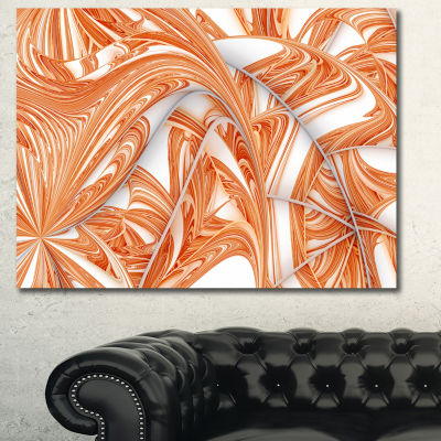 Design Art Brown Winter Fractal Pattern Abstract Art On Canvas - 3 Panels
