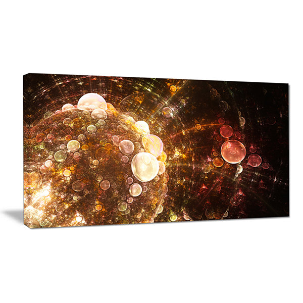 Designart Brown World Bubbles Water Drops Floral Canvas Art Print