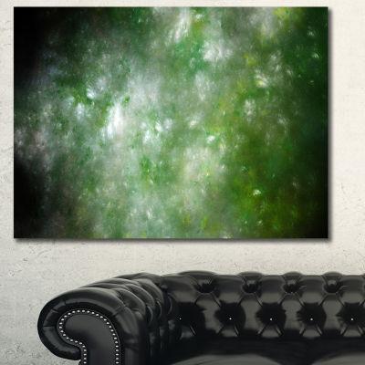 Designart Blur Green Starry Fractal Sky Abstract Canvas Art Print