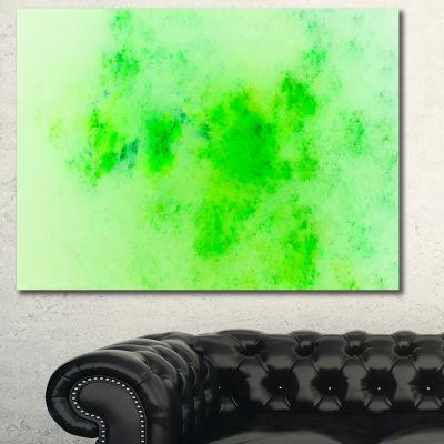 Designart Bright Green Starry Fractal Sky AbstractCanvas Art Print