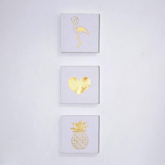 Frank And Lulu Gold Metallic  3-pc. Canvas Art