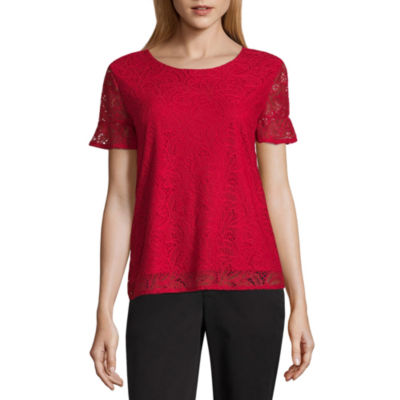 Liz Claiborne Short Sleeve Crew Neck Knit Blouse-Petites