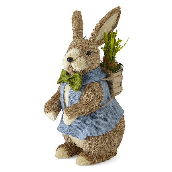 JCPenney Home 14 Inch Brush Bunny With Bow And Vest Figurine