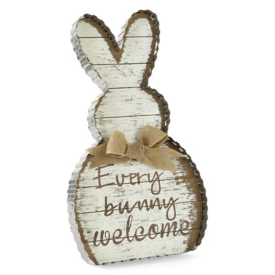JCPenney Home Every Bunny Welcome Wood Sign Tabletop Decor
