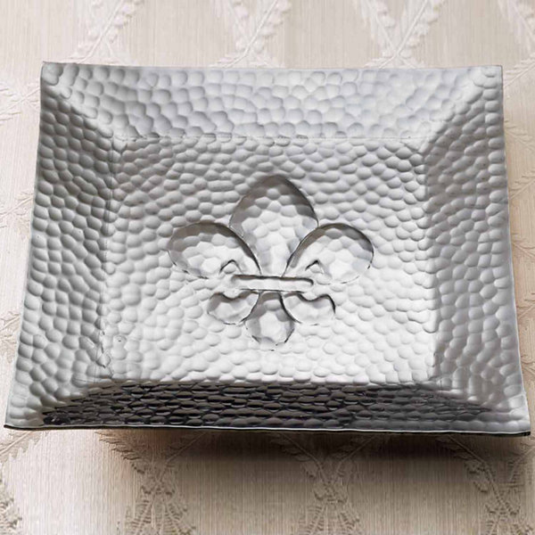 St. Croix Trading Hammered Square Fleur-dis-lis Tray