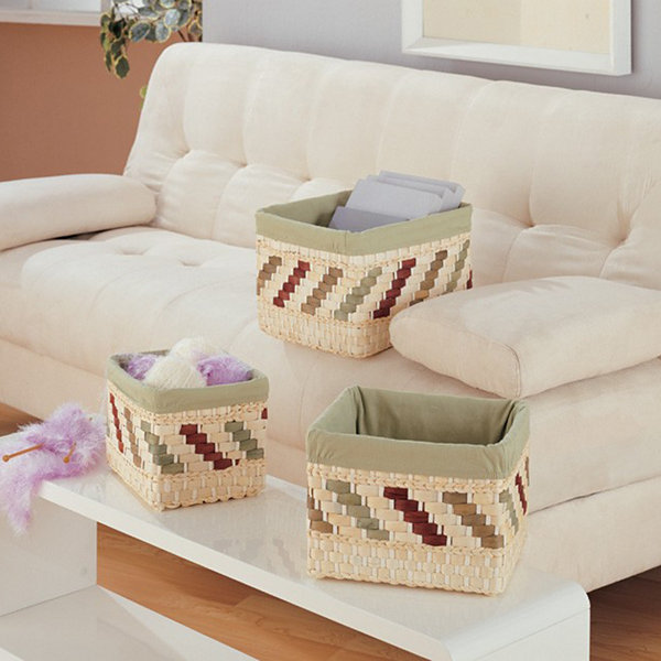Neu Home Rectangular Storage Baskets, Set of 3