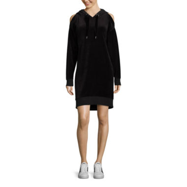 Xersion Cold Shoulder Velour Hoodie Dress