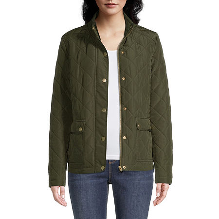 St. John's Bay Lightweight Quilted Jacket, Petite X-small , Green