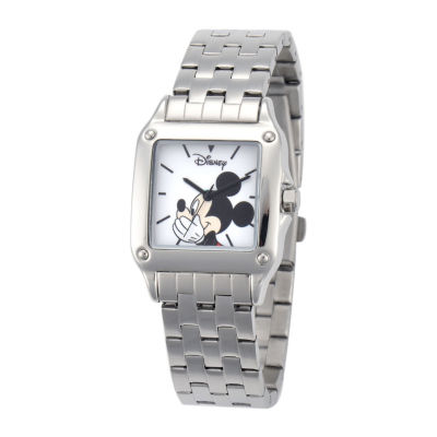 Disney Mickey Mouse Womens Silver-Tone Watch