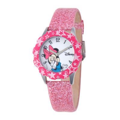 Disney Minnie Mouse Kids Pink Glitter Watch