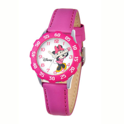 Disney Minnie Mouse Kids Time Teacher Magenta Leather Watch