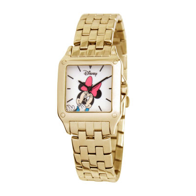 Disney Minnie Mouse Womens Gold-Tone Watch