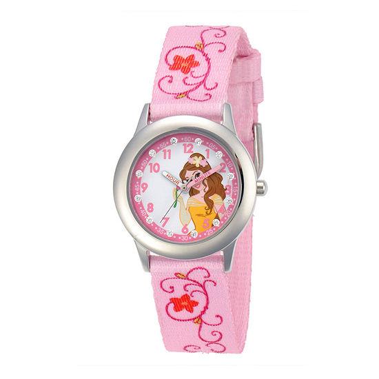 Disney Belle Kids Time Teacher Pink Floral Strap Watch