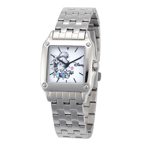 Disney Tinker Bell Womens Silver-Tone Watch