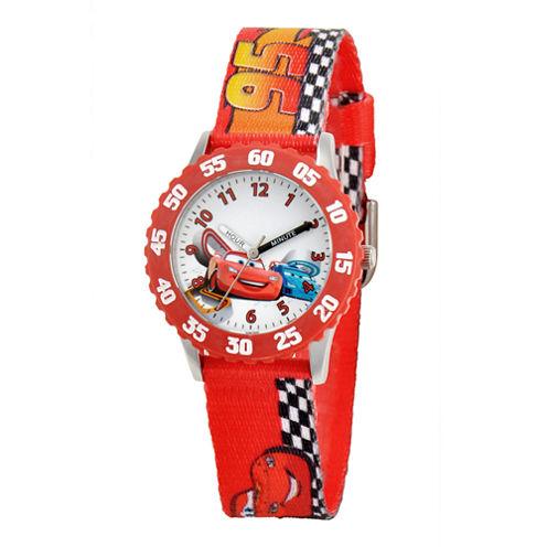 Disney Cars Time Teacher Kids Racetrack Strap Watch