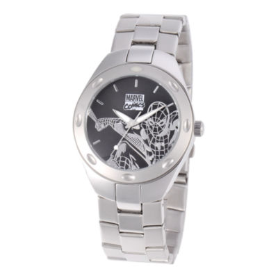 Marvel Spiderman Mens Black & Silver-Tone Watch