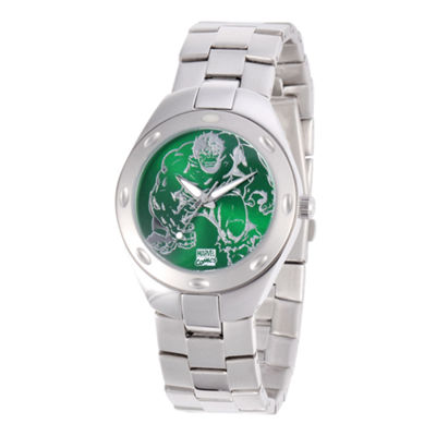 Marvel Fortaleza Incredible Hulk Mens Silver-Tone & Green Watch