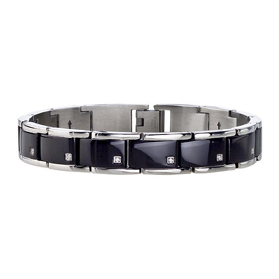 Mens 1/10 CT. T.W. Diamond Stainless Steel Black IP Adjustable Link Bracelet