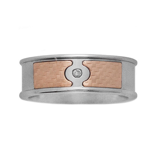 Mens 18K Yellow Gold & Stainless Steel Diamond-Accent Band