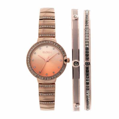 Elgin Womens Rose Goldtone Bracelet Watch-Eg160012rgst