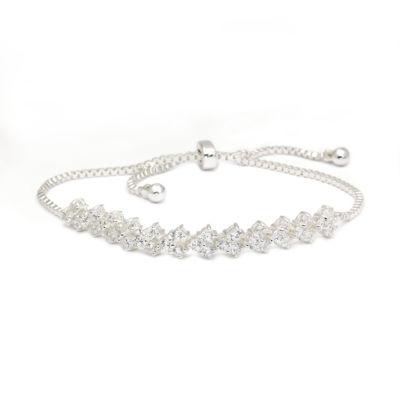 Sparkle Allure Clear Round Cubic Zirconia Cluster Stone Silver Adjustable Bracelet
