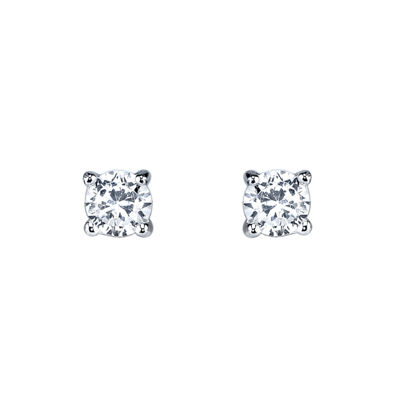 Silver Treasures White 4mm Stud Earrings