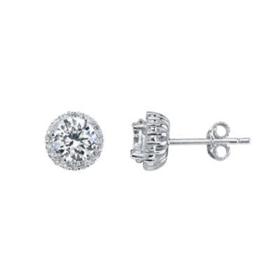 Silver Treasures White 7.5mm Stud Earrings